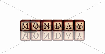monday in 3d wooden cubes banner