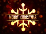 Merry Christmas in golden snowflake over red background with lig