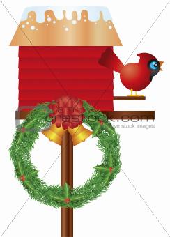 Christmas Birdhouse with Cardinal and Wreath Illustration