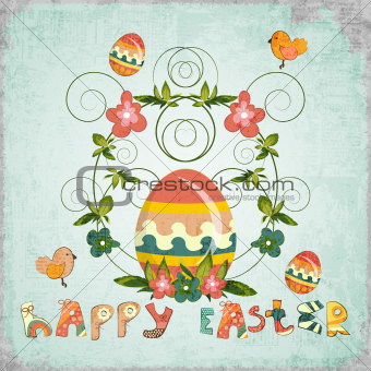 Retro Design of Easter Card