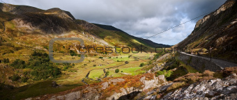 View from Ogwen along Nant Ffrancon valley in Snowdonia National