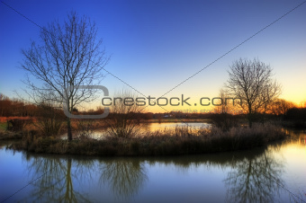 Stunning countryside landscape vibrant Winter sunrise
