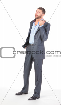 Full length portrait of thoughtful business man