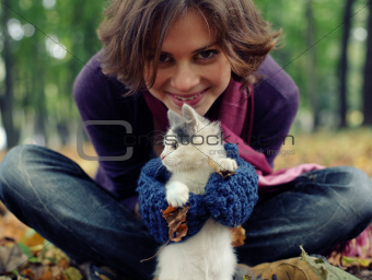 young girl and kitten