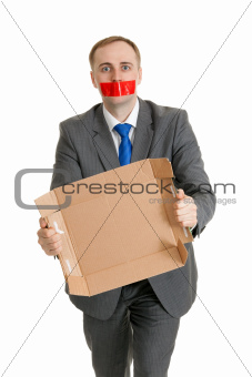 man with his mouth sealed