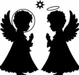 Cute angels silhouettes set