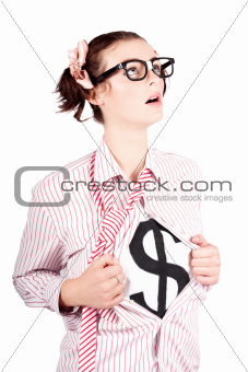 Young Businesswoman Super Hero Showing Dollar Sign