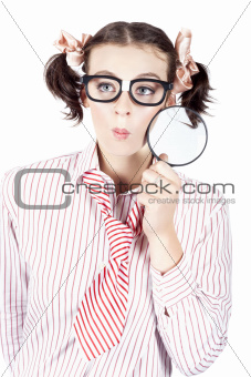 Isolated Woman Thinking With A Magnifying Glass