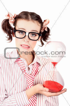 Isolated Business Person With Hourglass Time Clock