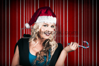Retro Christmas Girl Holding Candy Cane Lolly