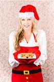 Retro Housewife Baking Christmas Cookies