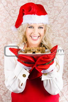 Chief Woman Wearing Xmas Hat Holding Biscuit Plate