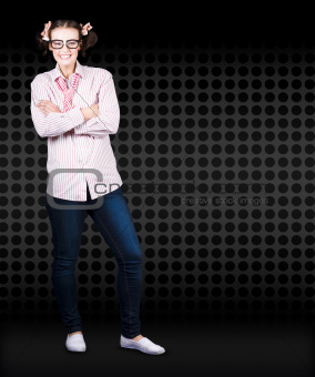 Full Body Female Business Nerd With Funny Smile