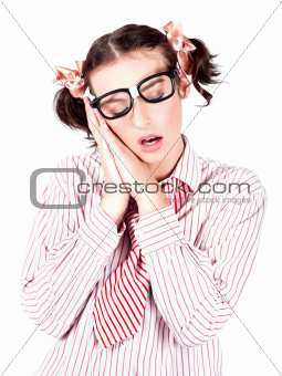 Isolated Businesswoman Sleeping On White Background