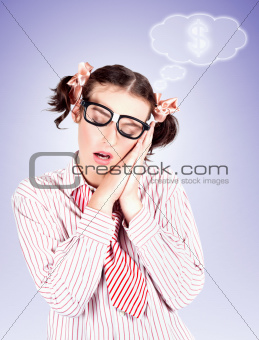 Smart Accountant Business Woman Dreaming Of Money