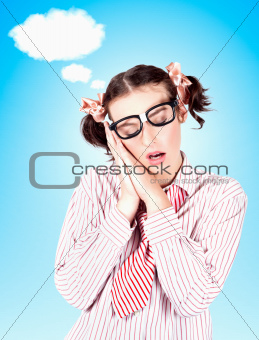 Business Person Dreaming Up Relax Cloud