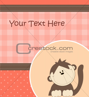 Card with cartoon monkey