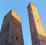 Due Torri - symbol of city under blue sky in Bologna