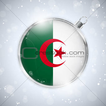 Merry Christmas Silver Ball with Flag Algeria