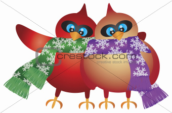 Christmas Cardinal Pair with Snowflake Scarf Illustration