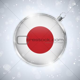 Merry Christmas Silver Ball with Flag Japan
