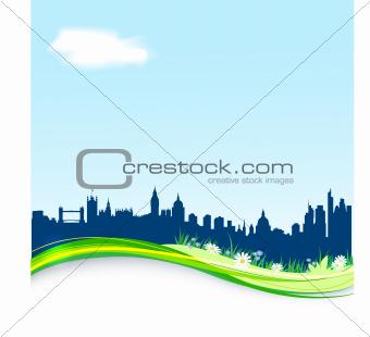 background with London skyline