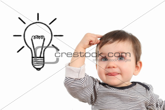 Baby thinking an idea with a bulb