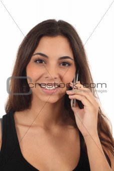 Teen girl talking on mobile phone