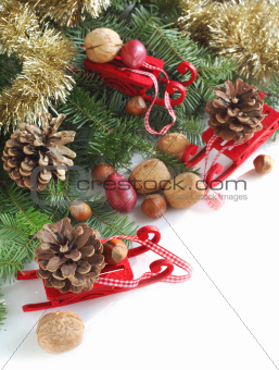 Christmas decoration with sled