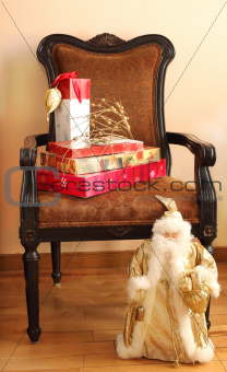 Christmas gifts on a chair