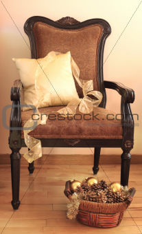 Christmas decoration on a chair