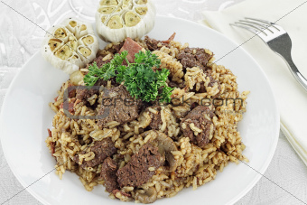 Venison Pilaf and Roasted Garlic Cloves