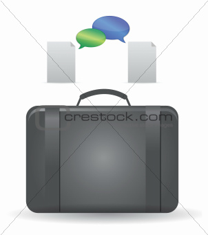 working suitcase and documents