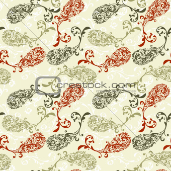 Vector Seamless Pattern with Paisley Ornament