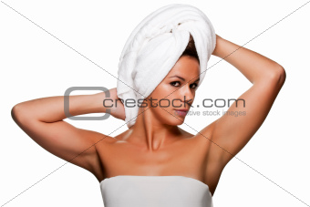 Woman With Towel on Her Head
