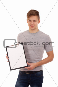 Young man holding clip board