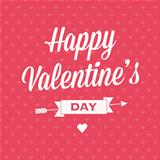 Happy Valentine's day card with ribbon