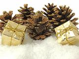 pine cones and gifts decoration