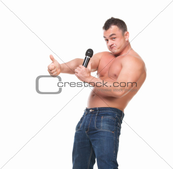 Man with a Microphone shows Thumb-up