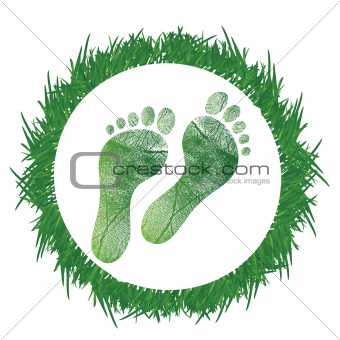 footprint around grass