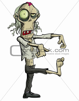 Green cartoon businessman zombie.