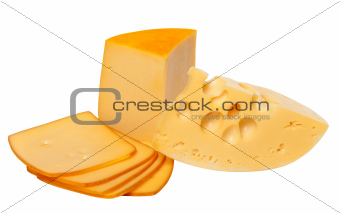 Pieces and slices of cheese