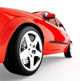 red car of sports type on a white background