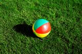bright varicolored child's ball on a summer grass