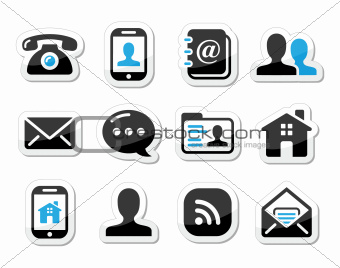 Contact icons set as labels - mobile, user, email, smartphone