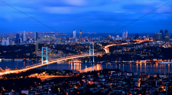 sunrise golden gate bridge and the lights istanbul, Turkey