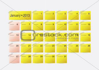 Simple calendar design for 2013