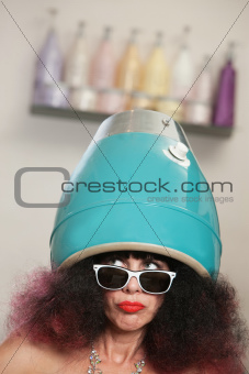 Lady in Large Hair Dryer