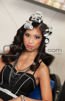 Calm Woman with Curlers