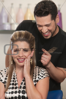 Blushing Lady with Hair Stylist